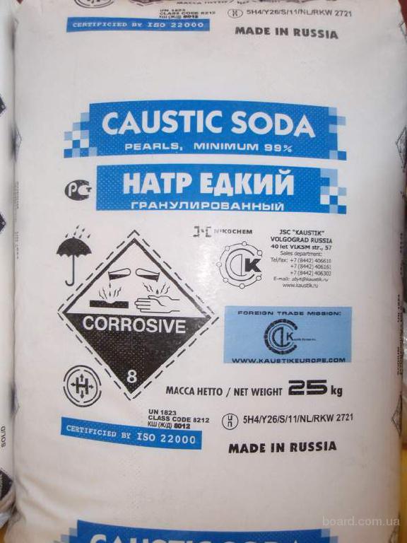 Сода каустическая, гранула Волгоград, высший сорт, мешок