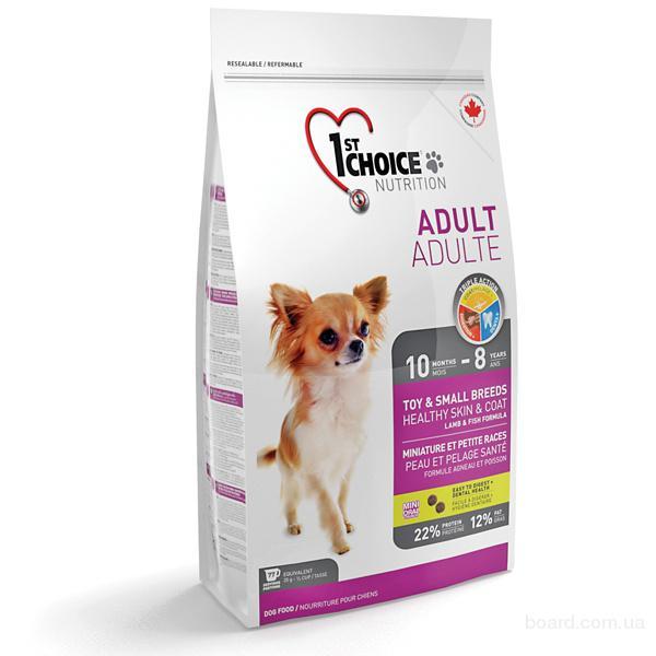 Корм для собак 1st Choice корм для взрослых собак мини пород с ягненком и рыбой