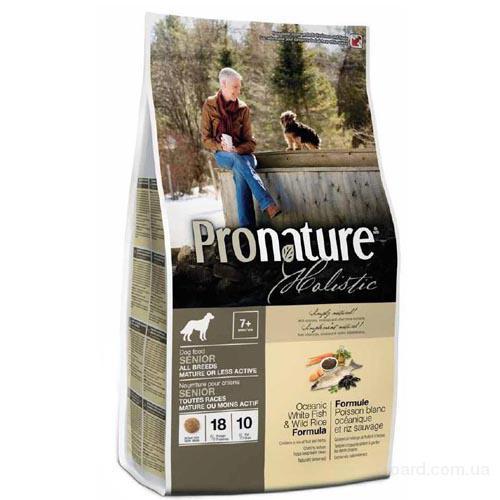 Корм для собак Pronature Holistic с океанической белой рыбой и диким рисом  для пожилых и малоактивных собак