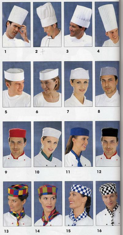 головные уборы - поварские, медицинские, для продавцов