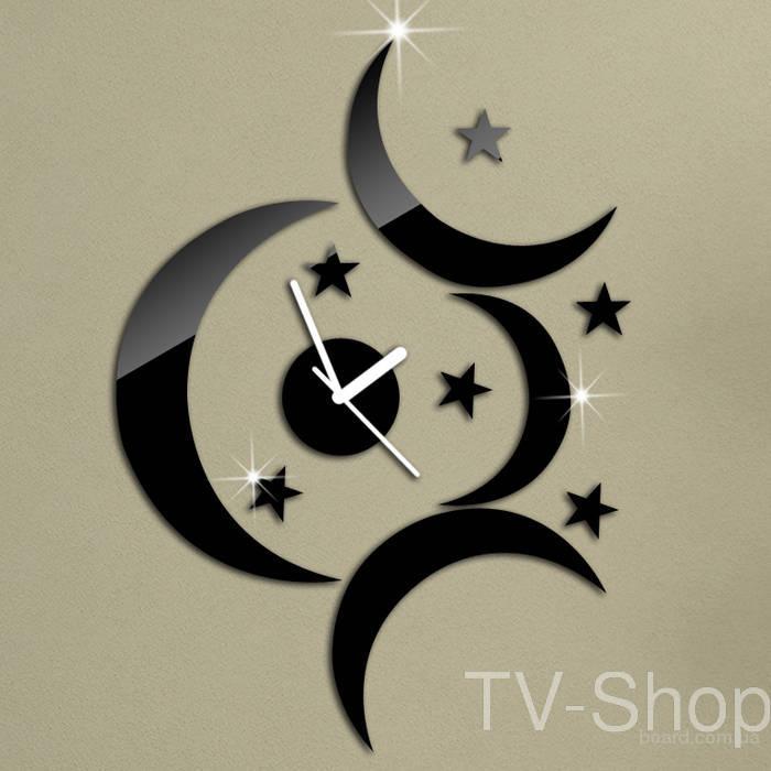"""Годинник настінний дизайнерський """"Луна та зірки"""" інтер'єр спальні, вітальні"""