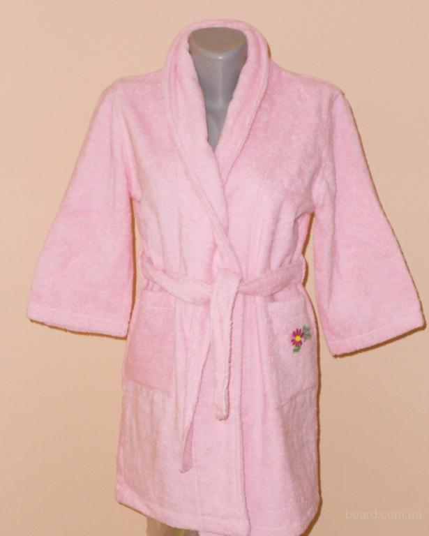 Махровый халат для девочки 5-6 лет