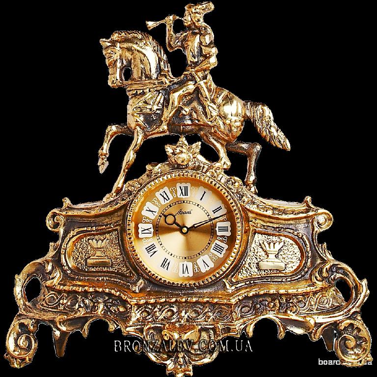 Часы каминные Охота бронза