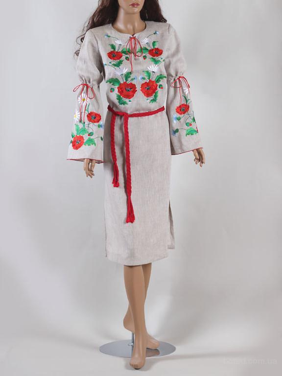 """Вишиванка """"Маки"""" (сукня беж)"""