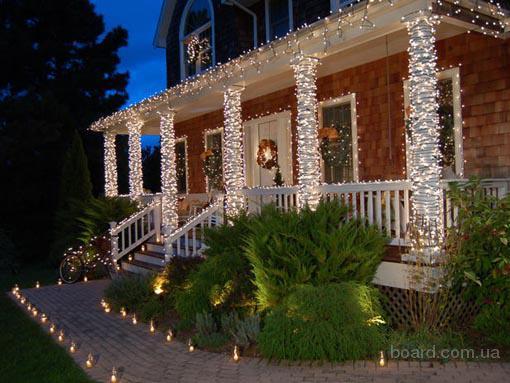 Новогоднее оформление зданий, световое оформление дома.Монтаж гирлянд.