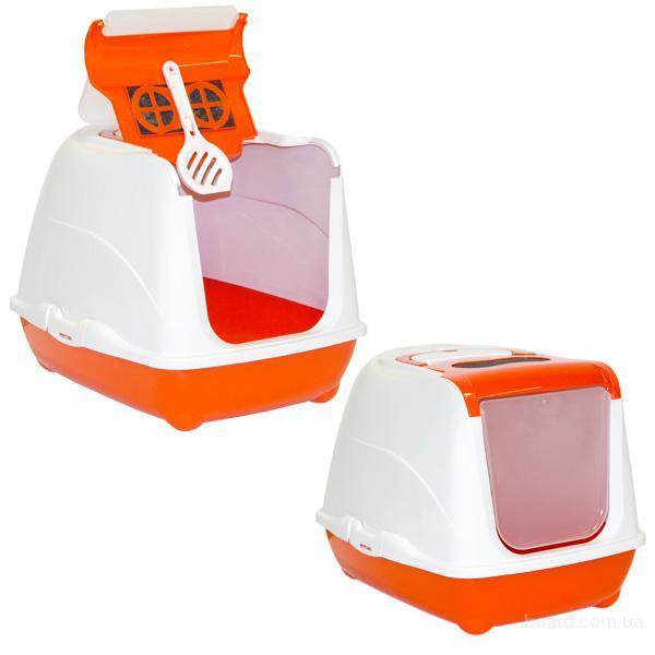Туалет для кошки Moderna Флип кэт Джумбо закрытый туалет с откидной крышкой  58х45х42 см