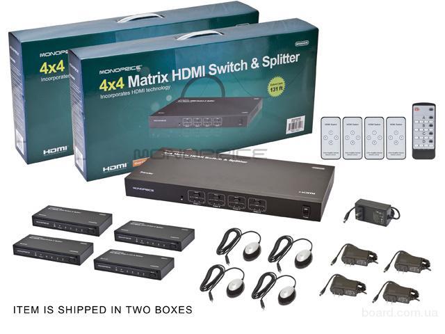 HDMI 4х4 Матричный САТ5/6 на 40м.