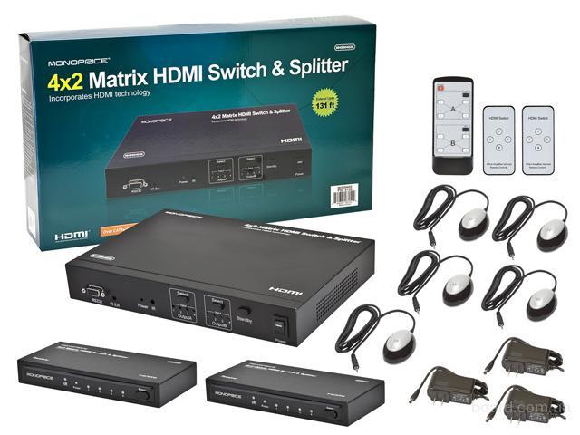 4x2 HDMI Матричный комутатр. С удинением до 40м.
