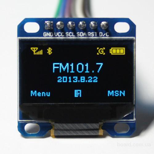 LCD OLED 0.96'' 128x64 SPI Дисплей (синій)