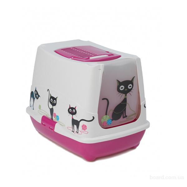 Закрытый туалет для кошек Moderna Тренди кэт узор, 50*39*39 см