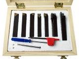 Набор токарных резцов по металлу со сменными пластинами из цементированного карбида с титановым покрытием (резцы