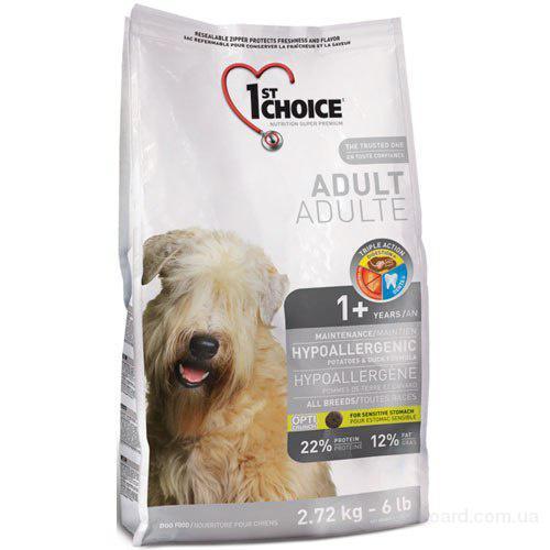Корм для собак 1st Choice с уткой и картошкой гипоаллергенный