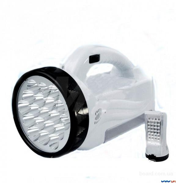 Фонарь-прожектор аккумуляторный светодиодный 19 LED + панель 28 LED. Белый 2 в 1.