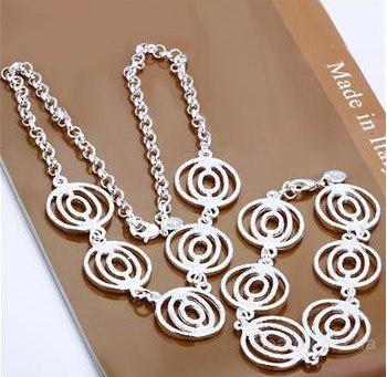 Серебрянный комплект из ожерелья и браслета