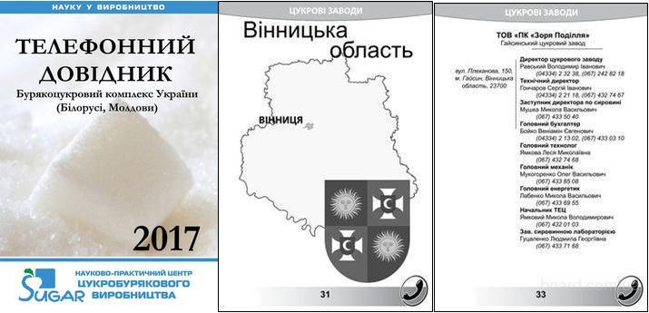 Телефонный справочник свеклосахарного комплекса Украины (Беларуси, Молдовы)