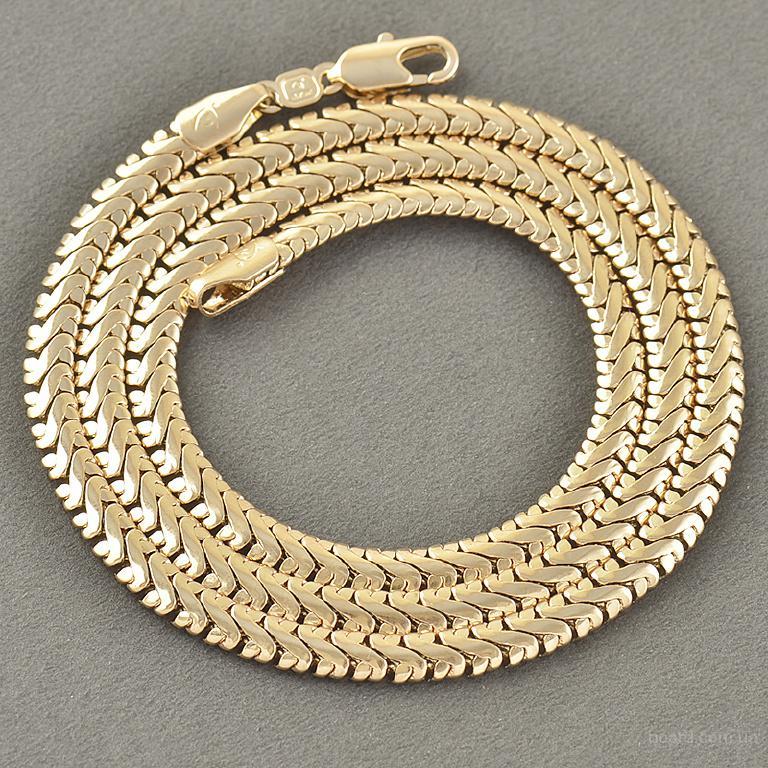 Красивая цепочка покрытая золотом 14 Карат Змейка