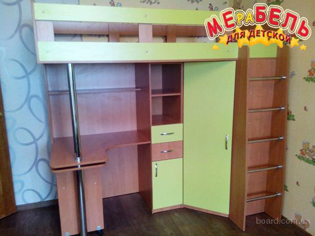 Кровать-чердак с выдвижным столом и угловым шкафом (к1) Merabel