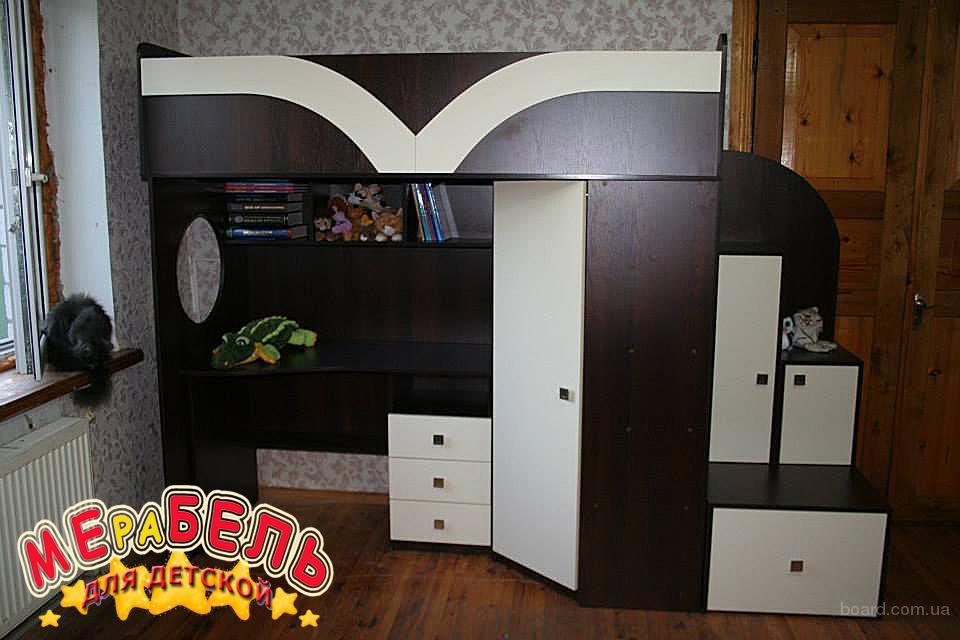 Детская кровать-чердак с рабочей зоной, угловым шкафом и лестницей-тумбочкой (кт3) Merabel