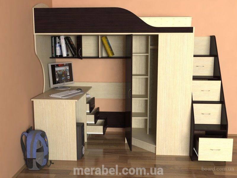 Кровать-чердак с мобильным столом, угловым шкафом и лестницей-комодом (кл4) Merabel