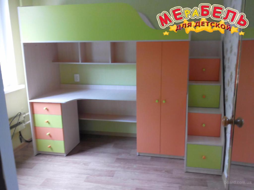 Кровать-чердак с рабочей зоной, шкафом и лестницей-комодом (кл5) Merabel