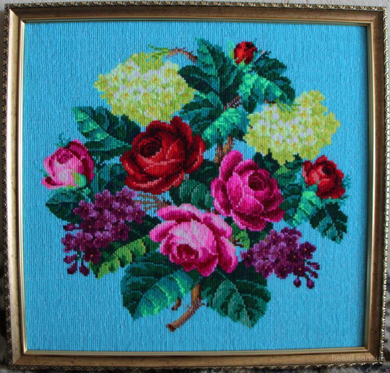 Вышитая картина в рамке «Цветы» 29х30 см
