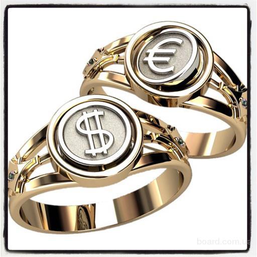 Серебрянное кольцо, Печатка Доллар и Евро, кольцо мужское