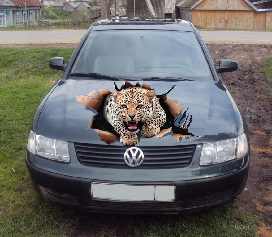Наклейка на авто Леопард на капоте