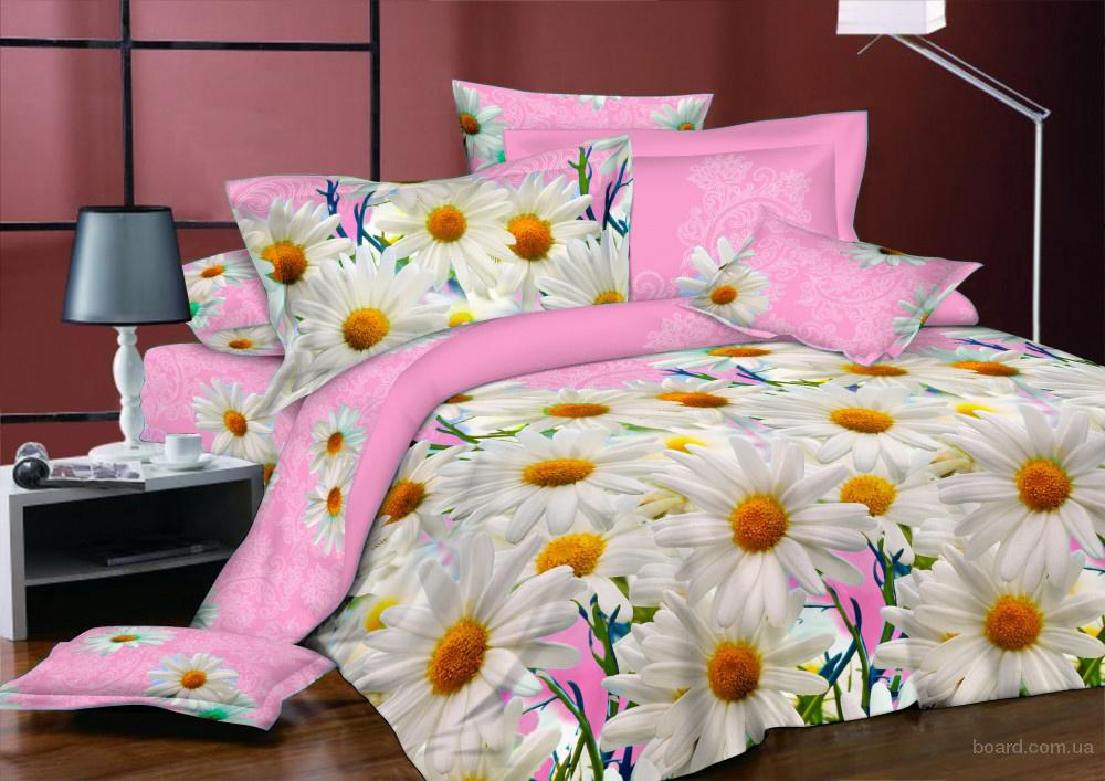 Купить постельное белье Украина, Комплект Ромашки розовые