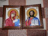 """Вінчальні ікони, вишиті бісером ( """" Казанська Богоматір """" і """" Господь Вседержитель """" )"""