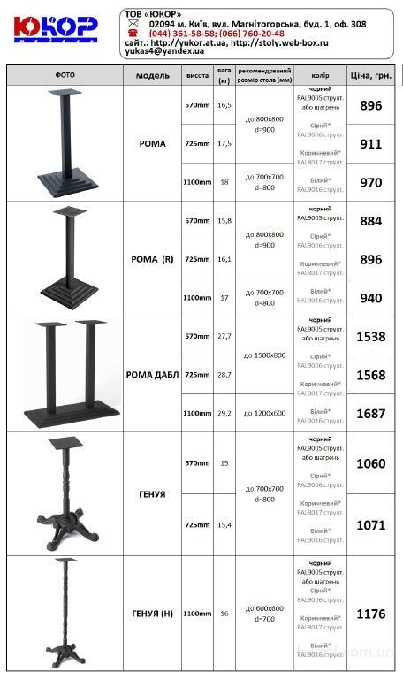 Основания столов барных, базы (опоры)
