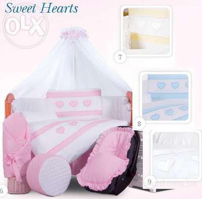 Постельное белье в кроватку Tuttolina sweet hearts