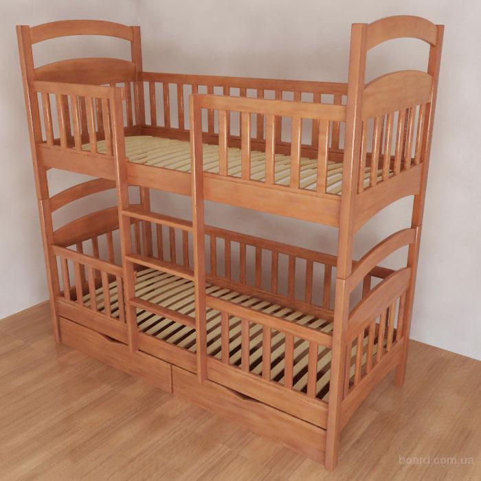 """Двухъярусная кровать """"Карина"""" с дерева от производителя"""