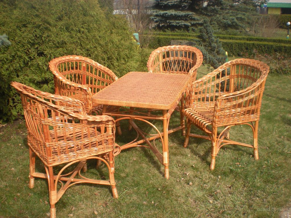 Комплект плетеная мебель лоза ручная работа 4 стула+стол эко.