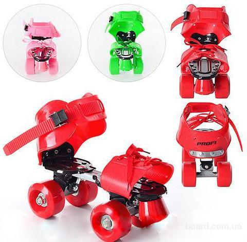 Роликовые коньки раздвижные 4-колесные Profi Roller для мальчиков и девочек