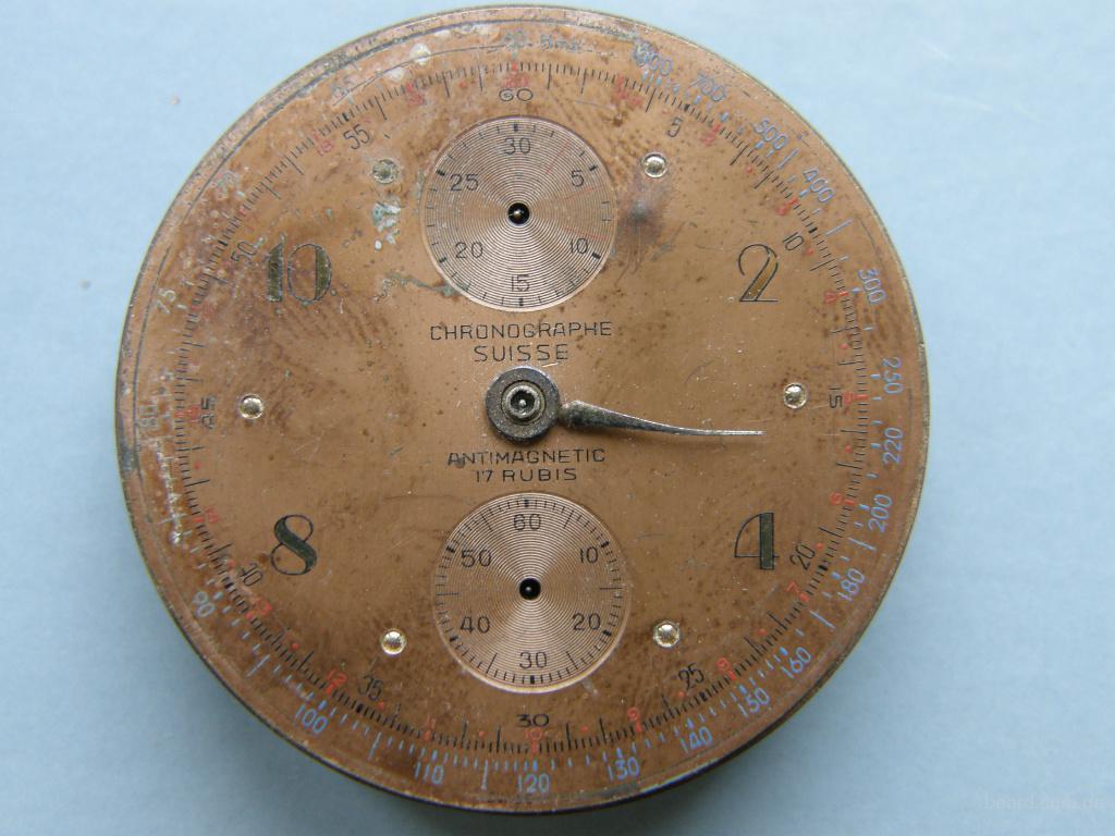 Хронограф, часы, Швейцария, 17 рубинов, раритет 1920-1940 года