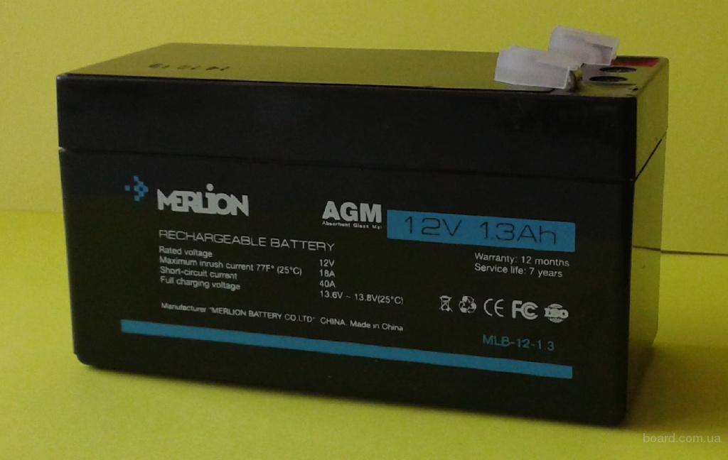 АКБ аккумулятор батарея 12V 1.3Ah Merlion для металлоискателя