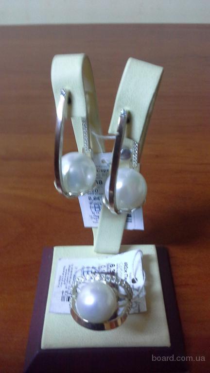 Набір срібло 925 проба золото 375 з Перлиною