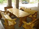 Комплекты столов с лавками и креслами из дерева
