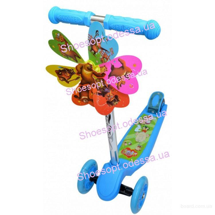 Самокат детский трехколесный с ветрячком голубой, розовый  колеса светятся