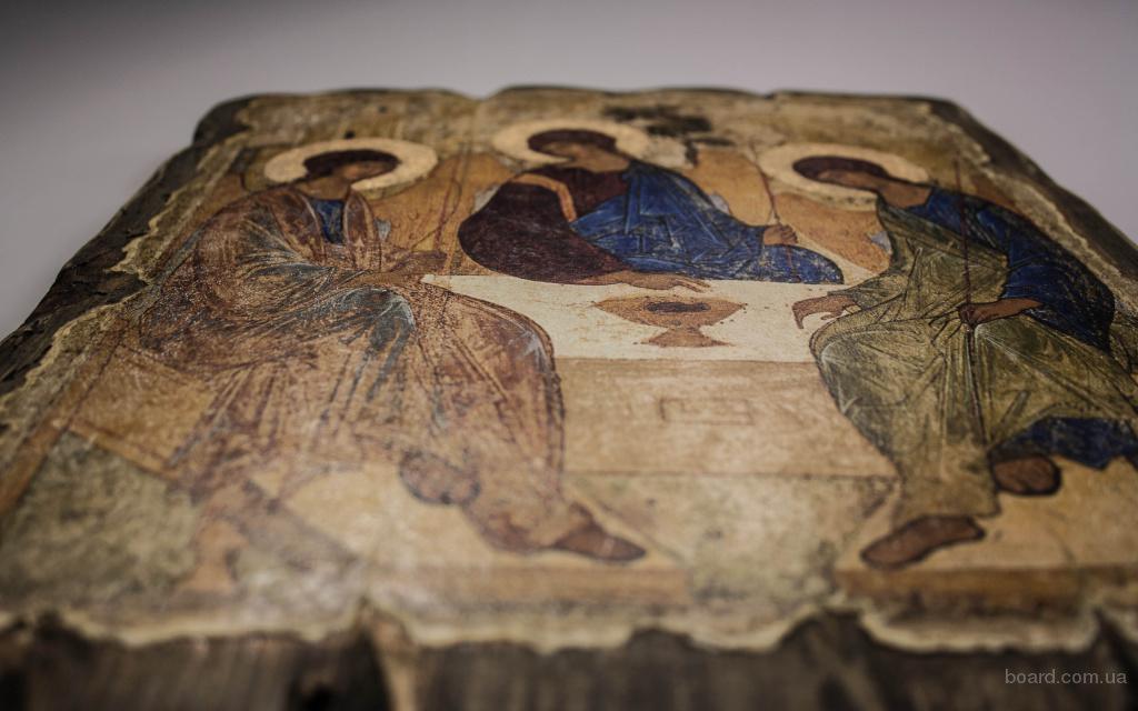 Икона по дереву ручной работы Святой Троицы