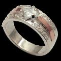 Серебряное кольцо с золотыми напайками Арт.(020)