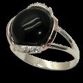 Серебряное кольцо с золотыми вставками с ониксом.