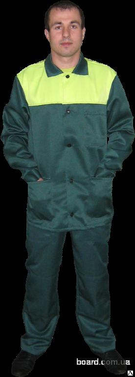 Костюм рабочий ткань гретта зеленый с лимонной кокеткой