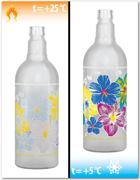 Печать термохромными красками на бутылке