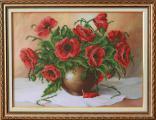 Картина вышитая бисером Букет маков в кувшине - размер картины: 33 х 42 см. антибликовое стекло.
