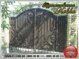 Ворота филенчатые «шоколадка» под заказ, кованые, художественная ковка.