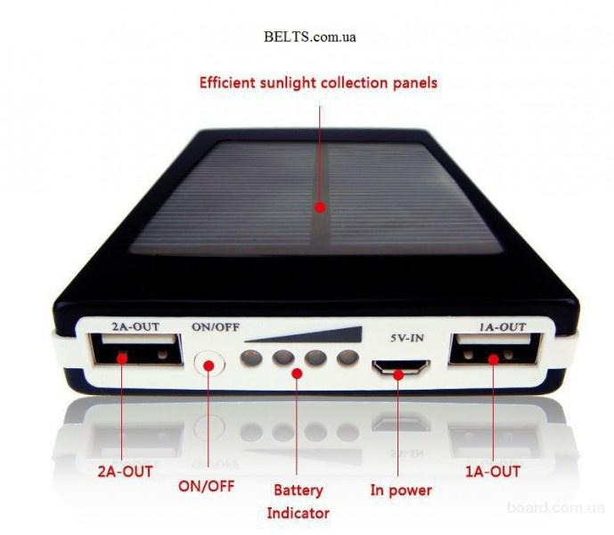Цина.Зарядное солнечное устройство для телефона Power Bank Solar 25000 mAh, Пауэр Банк Солар 25000 мАч