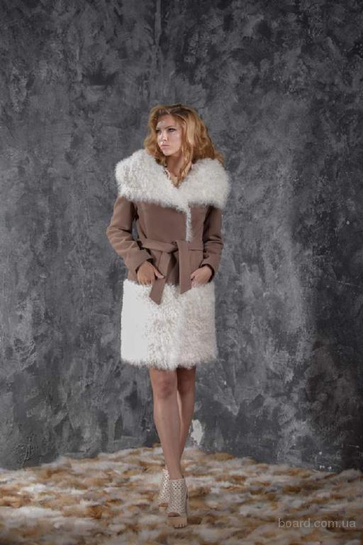 Пальто из кашемира цвета Какао и меха ка