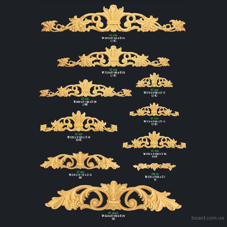 """Резные орнаменты, уголки, короны, розетки, капители. """"Candidus Prugger"""" (Италия)"""
