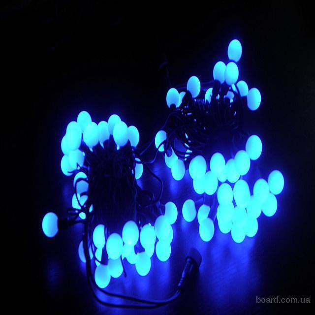 Световые шарики,10м(синий)